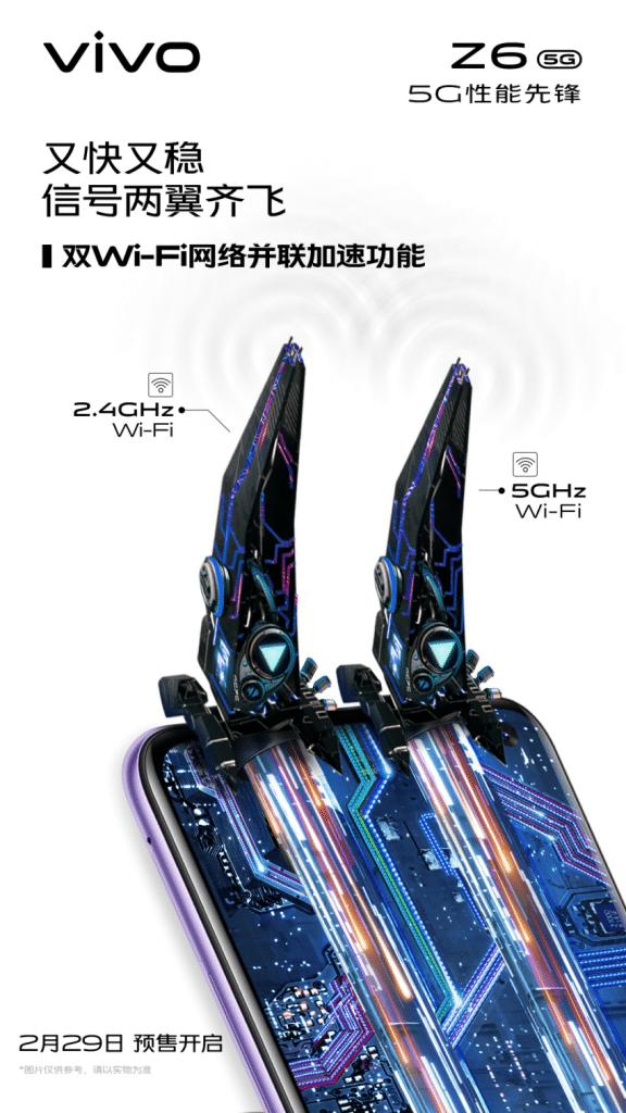 Conectividad Wi-Fi del Vivo Z6 5G