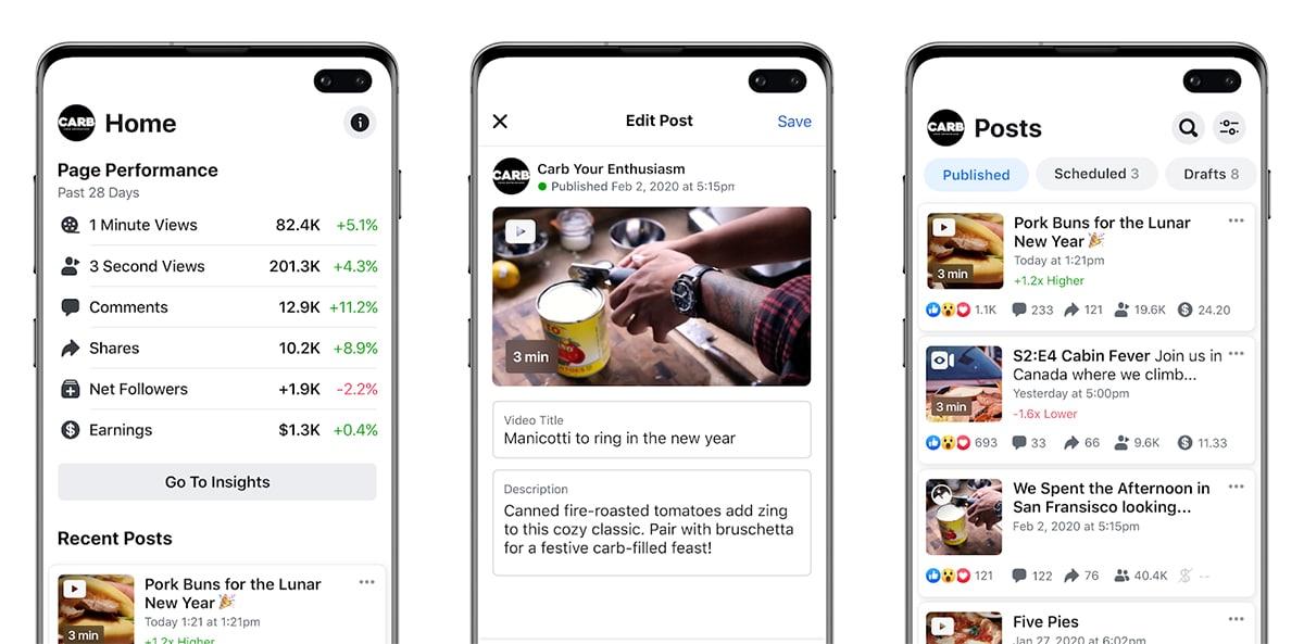 Creator Studio es la nueva app de Facebook para analizar los vídeos que subes a tu página