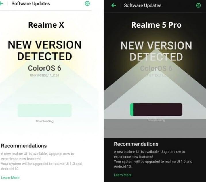 Nueva actualización para el Realme X y 5 Pro