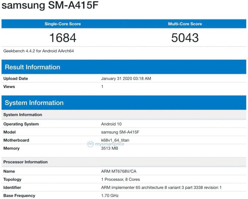 Samsung Galaxy A41 en Geekbench