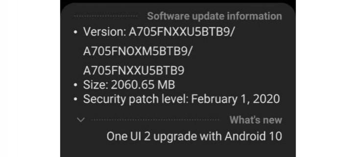 Android 10 bajo Samsung One UI 2.0 para el Galaxy A70
