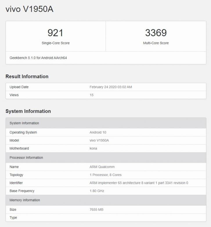 Sucesor del Vivo NEX 3(tres) 5G en Geekbench