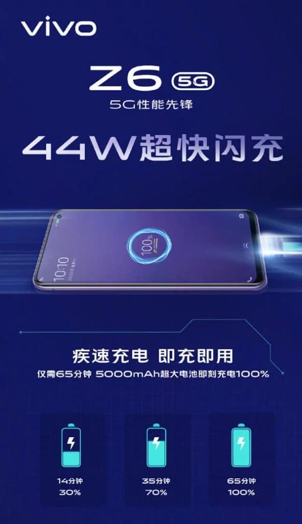 Vivo Z6 5G con batería de 5000 mAh y carga rápida de 44 W