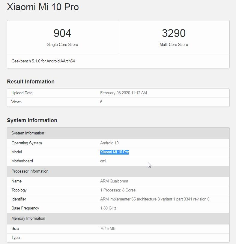 Xiaomi Mi 10 Pro en Geekbench