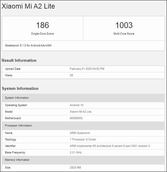 Xiaomi Mi A2 Lite con Android 10 en Geekbench