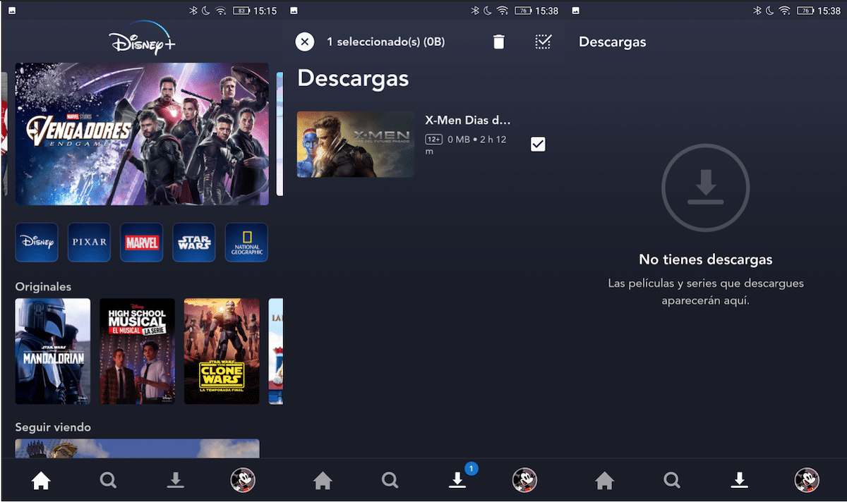 Disney + eliminar descargas