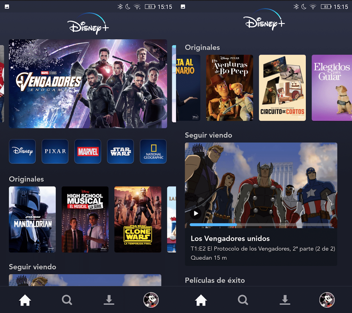 Disney + menu fijo