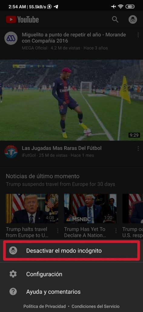 Modo incógnito en Youtube