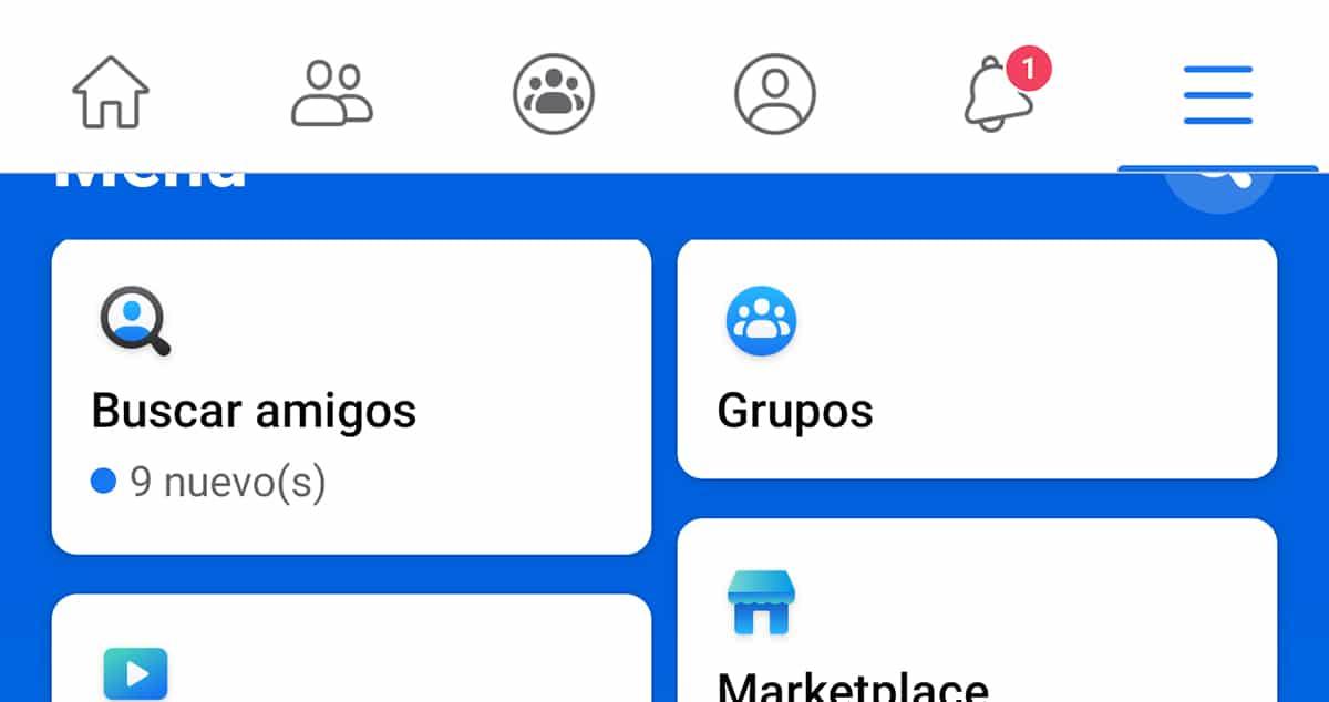 Facebook app nuevo menú