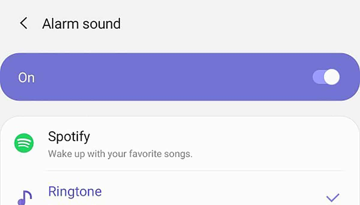 Galaxy S20 alarma Spotify