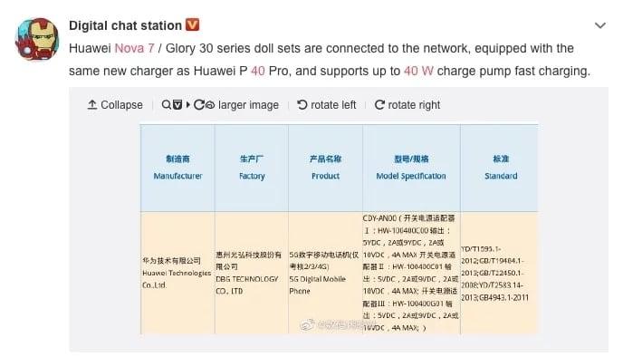 Huawei Nova 7 con carga rápida de 40 W