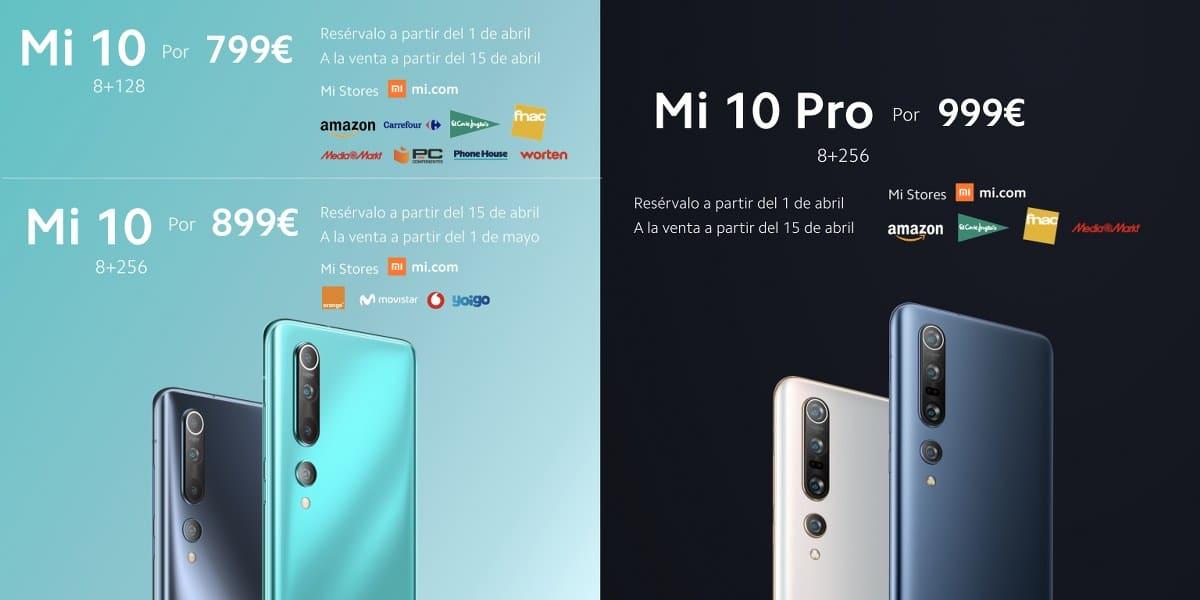 Precios de Xiaomi 10 y Xiaomi Mi 10 Pro