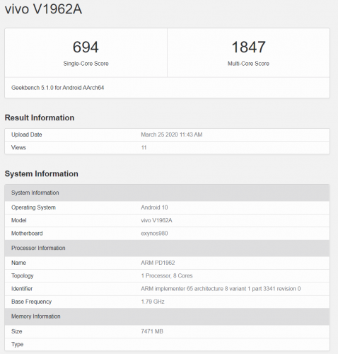 Vivo S6 5G en Geekbench