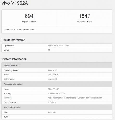 Vivo S6 5G en Geekbench