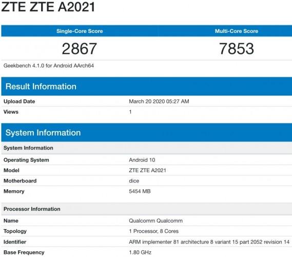 ZTE Axon 11 5G en Geekbench