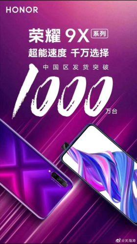 Ventas de la serie Honor 9X en China