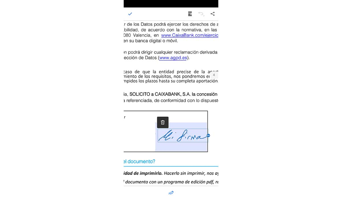 Colocar firma en el documento PDF
