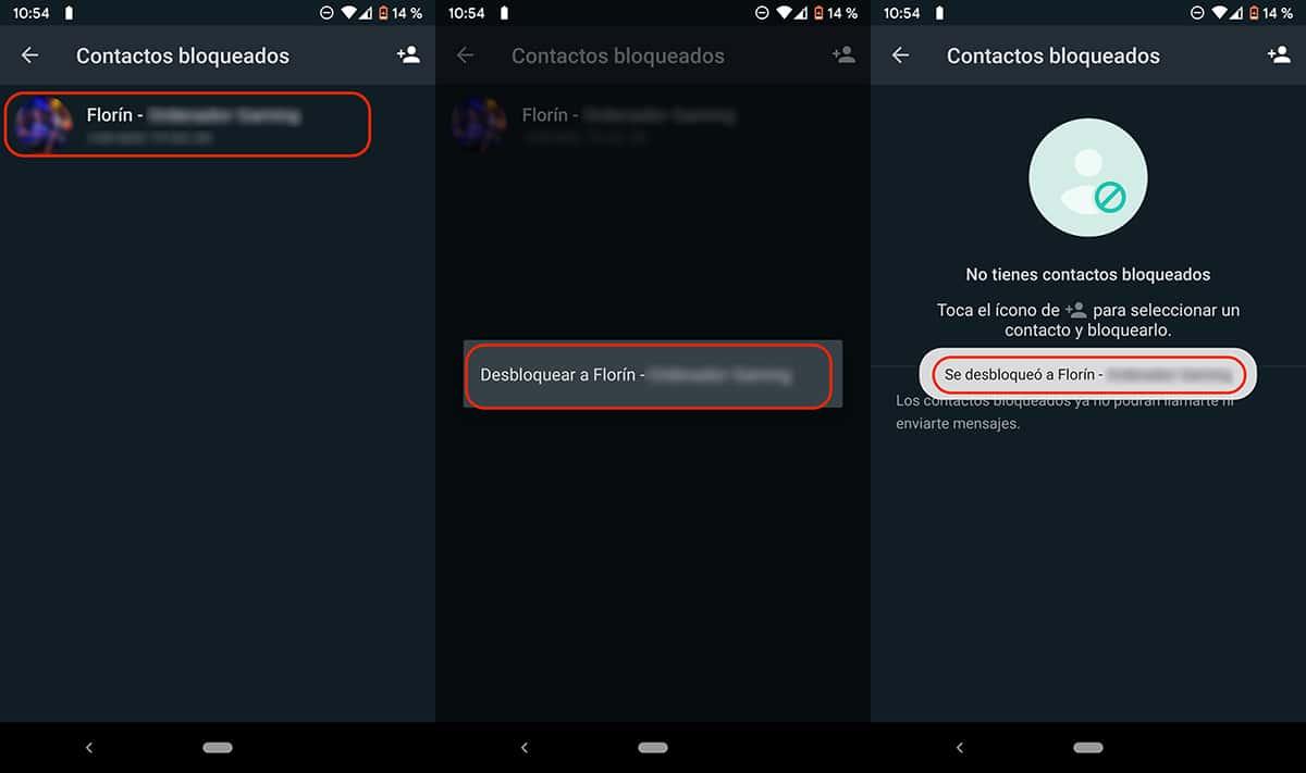 Desbloquear números en WhatsApp