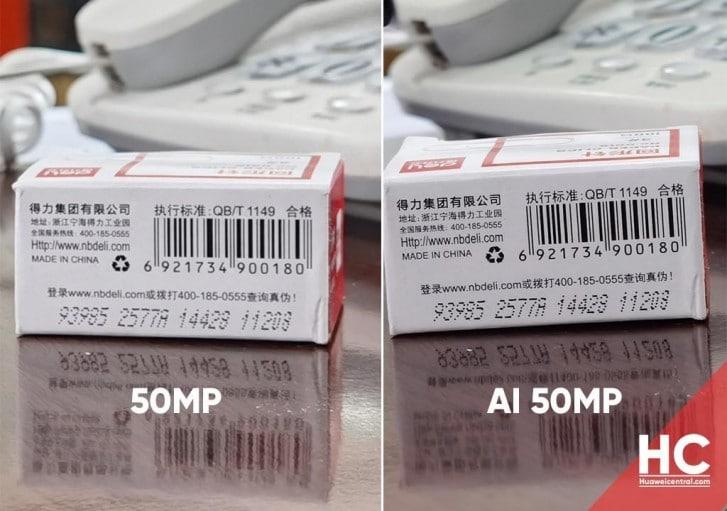 Foto sin el nuevo modo de cámara IA de 50 MP / Foto con el nuevo modo de cámara IA de 50 MP