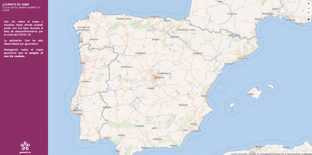 mapa calcular 1 km