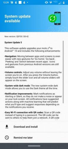 Android 10 para el Moto Z4 de Verizon