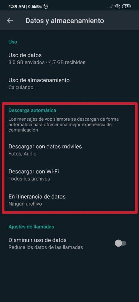 Configurar descargas automáticas en WhatsApp