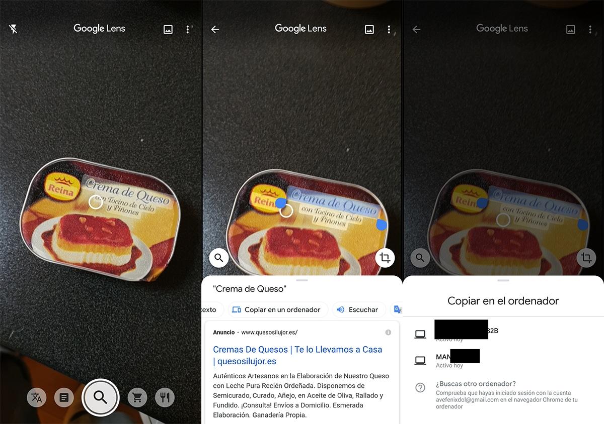 Copiar texto seleccionado a otro dispositivo en Google Lens