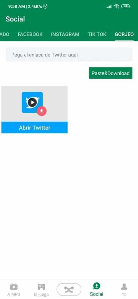 Descargar publicaciones de Twitter con Xender