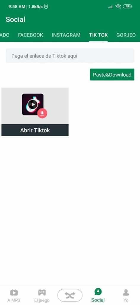 Descargar videos TikTok con Xender