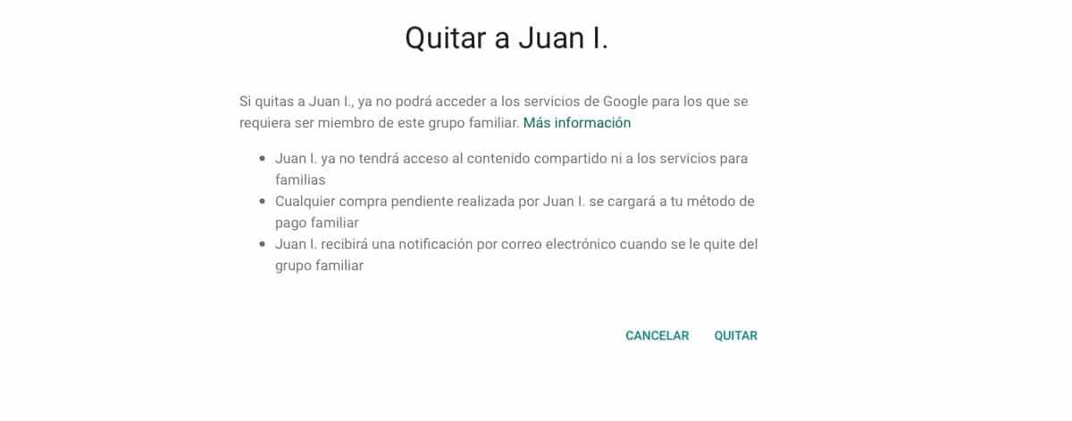 Eliminar miembros familia de Google