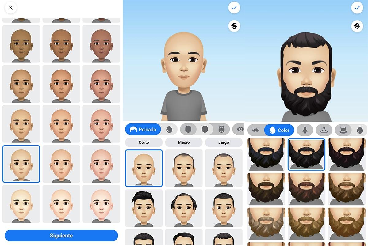 Interfaz de la creación de avatar