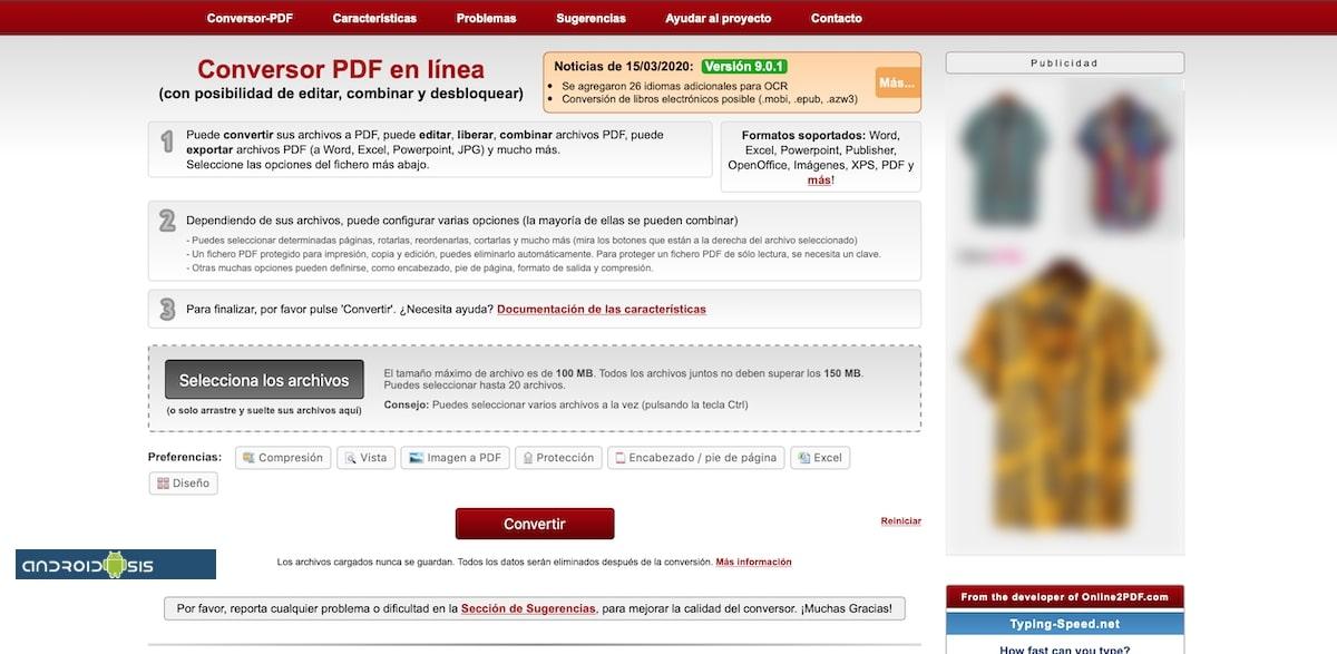 onlinePDF pantalla principal