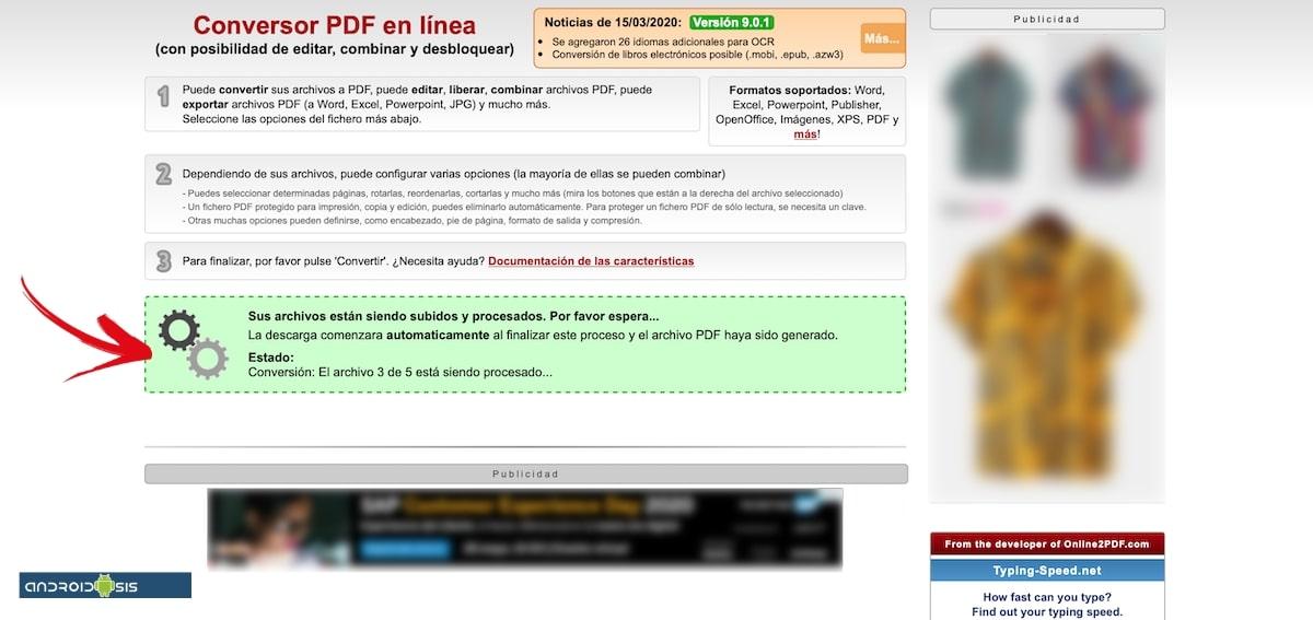 onlinePDF procesando archivos