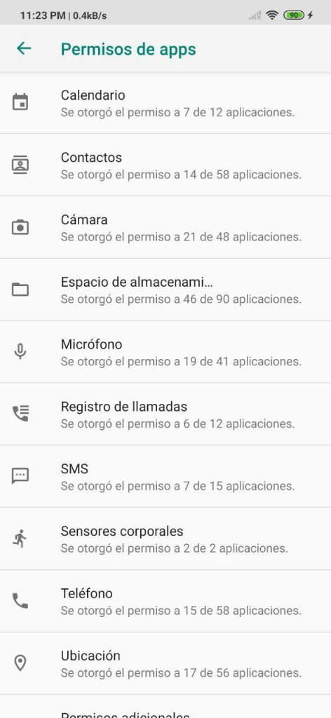 Permiso de apps en MIUI