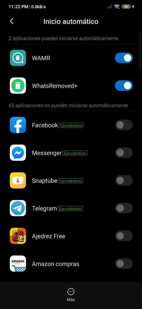 Inicio automático de apps en MIUI