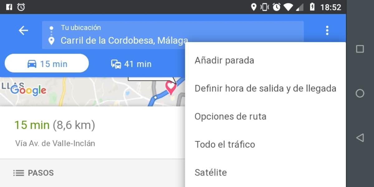 Opciones de ruta Maps