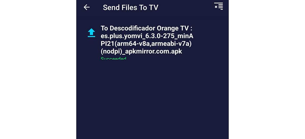 Enviando archivos en Android TV
