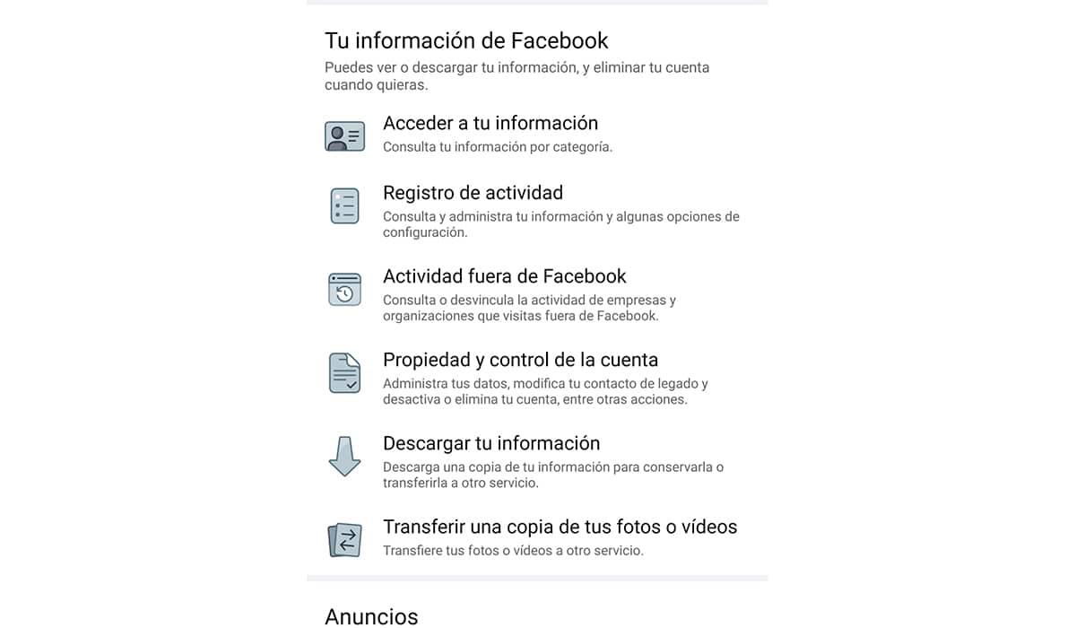 Facebook tu información