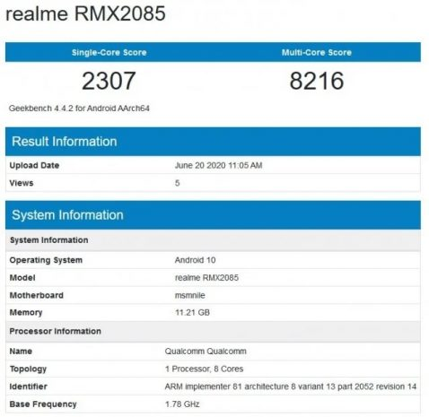 Realme X3 en Geekbench
