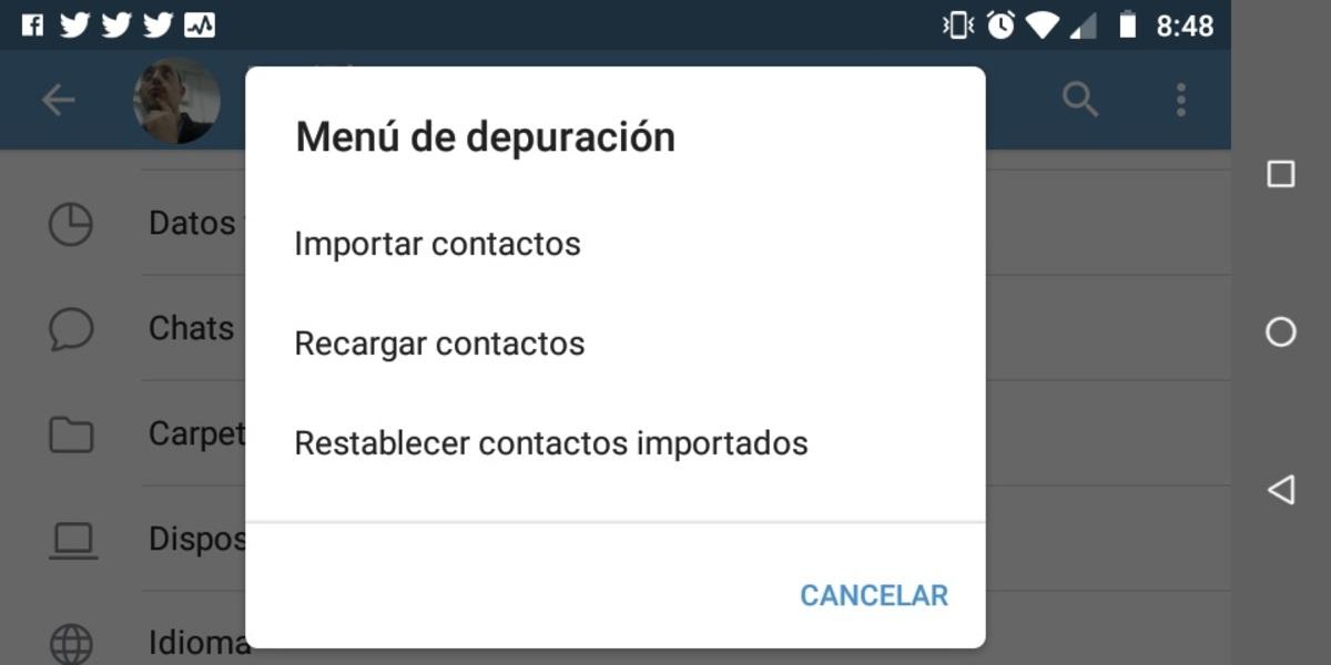 Opciones Telegram
