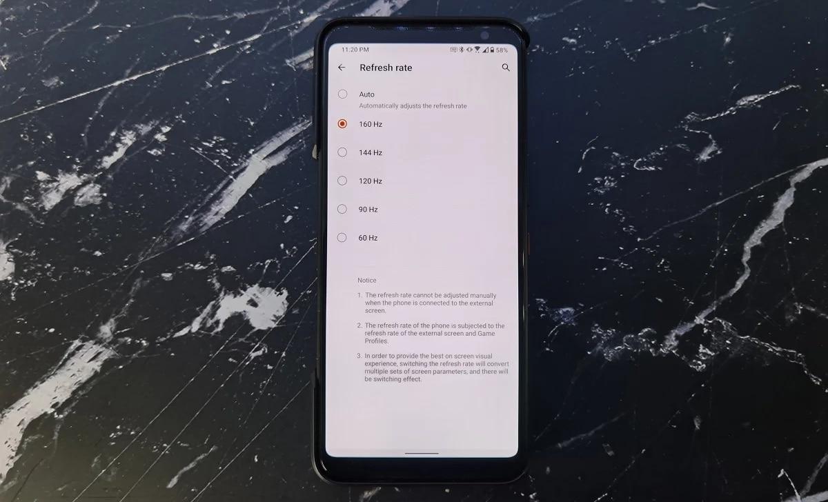 Asus ROG Phone 3 a 160 Hz