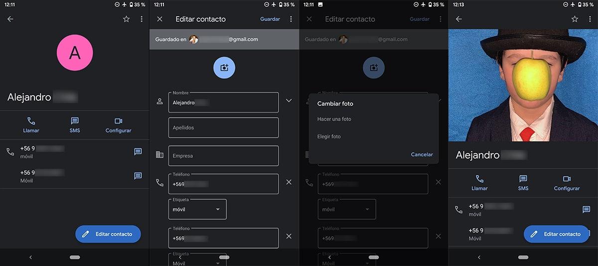 Añadir imagen a contacto Android