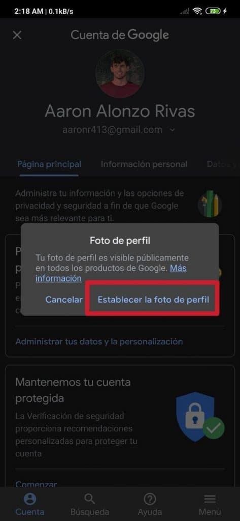 Cómo añadir o cambiar la foto de perfil en Gmail