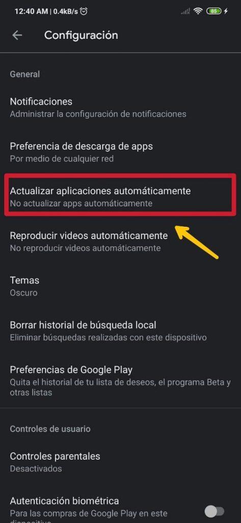 Cómo activar o desactivar las actualizaciones automáticas de la Play Store