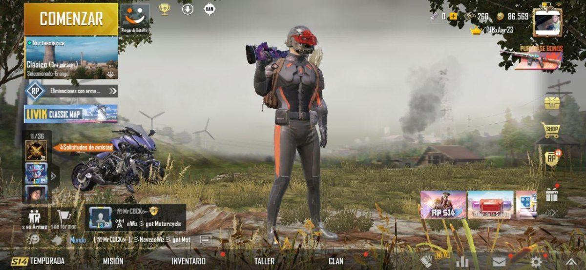 Lobby de PUBG Mobile, también conocido como la interfaz principal del juego