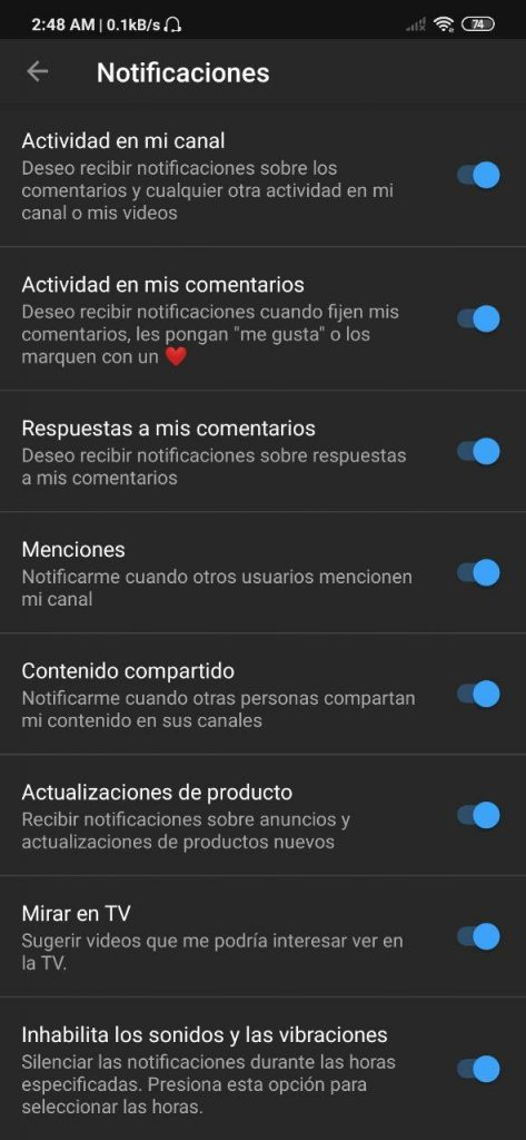 Notificaciones de Youtube