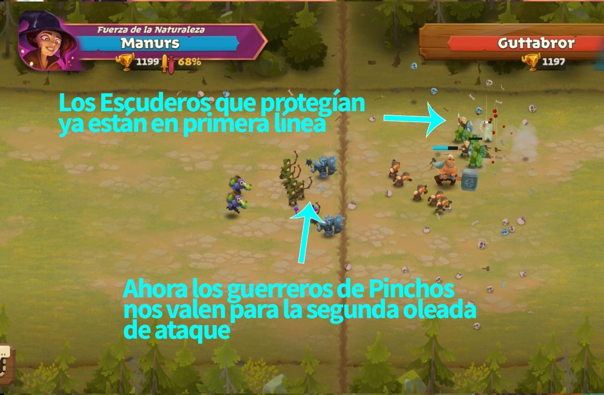Escuderos defendiendo y luego atacando