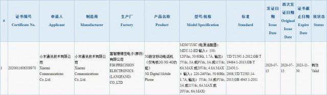 Móvil 5G de Xiaomi certificado con carga rápida de 120 W por la agencia 3C