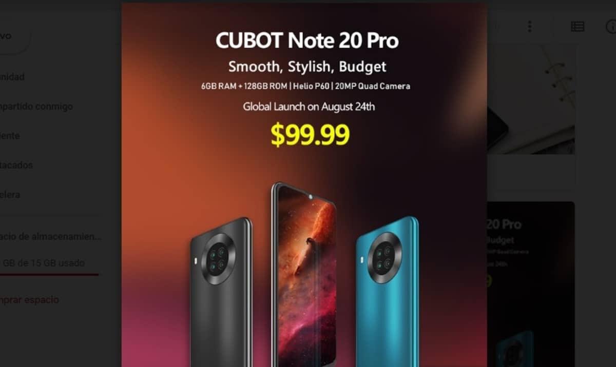 Cubot Note 20(veinte) Pro oficial