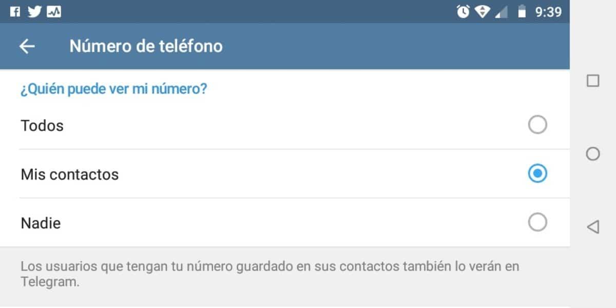Telegram quien puede ver contacto
